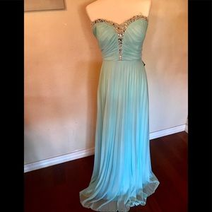 Macy's Ice Blue Strapless Chiffon Dress Size 13 J.